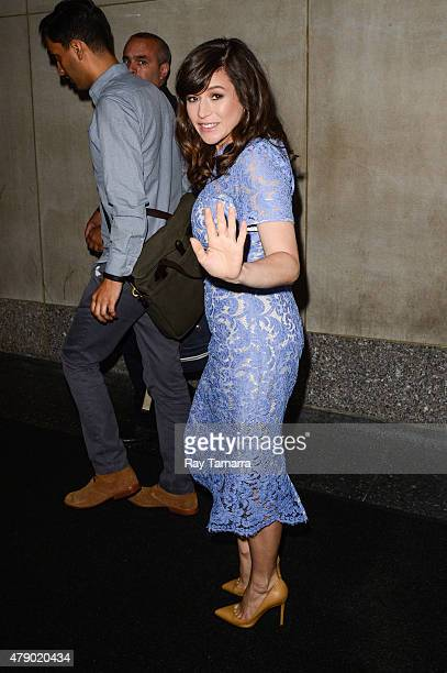 Actress Yael Stone enters the 'Today Show' taping at the NBC Rockefeller Center Studios on June 29 2015 in New York City