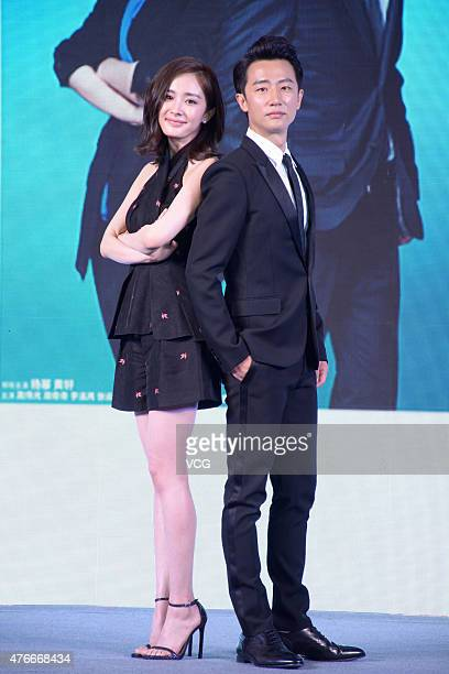 Actress Yang Mi and actor Huang Xuan attend new TV series 'The Interpreter' press conference during the 21th Shanghai TV Festival at Jing An...