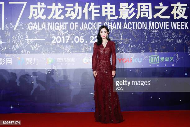 Actress Yang Mi arrives at the red carpet of Gala Night of Jackie Chan Action Movie Week during the 20th Shanghai International Film Festival on June...