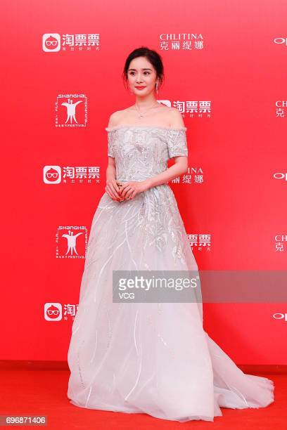 Actress Yang Mi arrives at the red carpet of the 20th Shanghai International Film Festival on June 17 2017 in Shanghai China