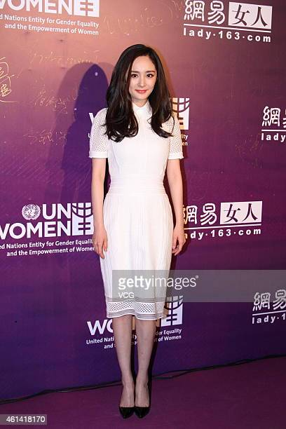 Actress Yang Mi arrives at 'The Women Media Awards' red carpet on January 12 2015 in Beijing China