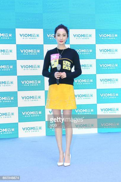 Actress Yang Mi attends a commercial event of water purifier brand Viomi on March 11 2017 in Shanghai China