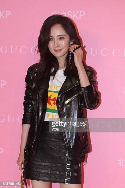 Actress Yang Mi attends an opening ceremony of Shin Kong Place flagship store of Gucci on November 8 2016 in Beijing China