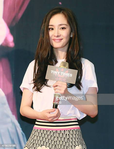 Actress Yang Mi attends fans meeting of 'Tiny Times 40' directed by Guo Jingming on May 28 2015 in Guangzhou Guangdong province of China