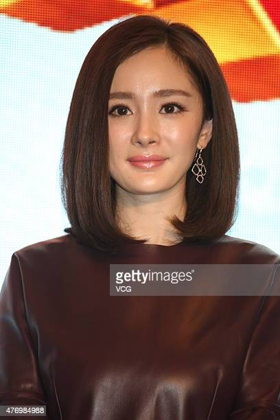 Actress Yang Mi attends 'Kung Fu Panda 3' press conference on June 13 2015 in Shanghai China