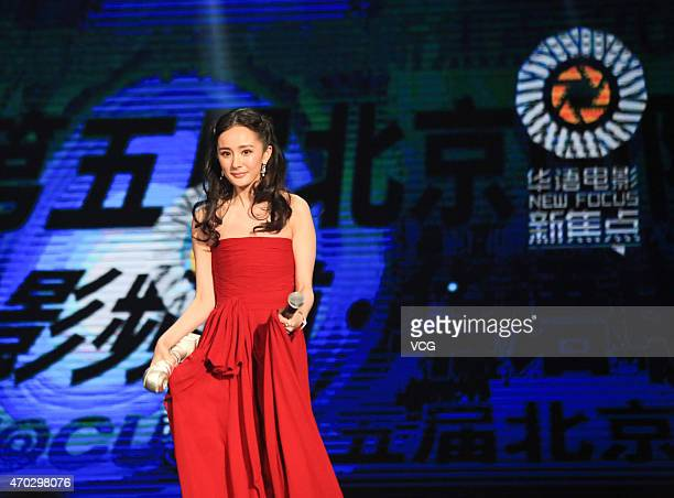 Actress Yang Mi attends the 5th Beijing International Film Festival on April 18 2015 in Beijing China
