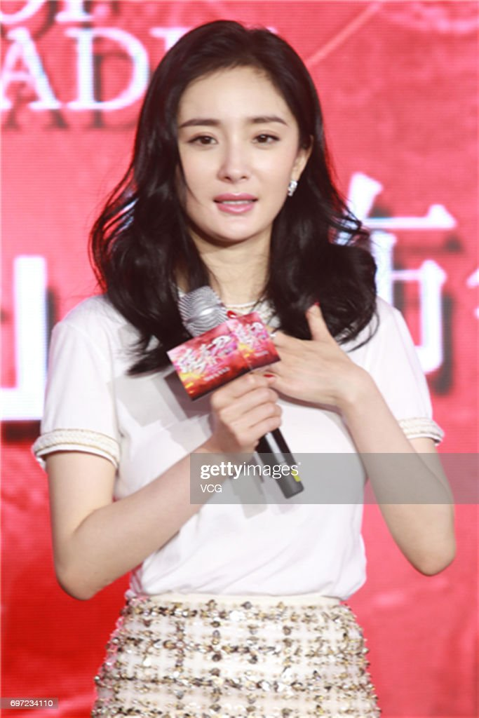 Actress Yang Mi attends the press conference of film 'Brotherhood of Blades 2' during the 20th Shanghai International Film Festival on June 18, 2017 in Shanghai, China.