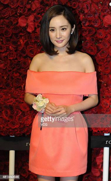 Actress Yang Mi attends unveiling ceremony of Roseonly flower shop at Jingan Kerry Center on July 20 2015 in Shanghai China