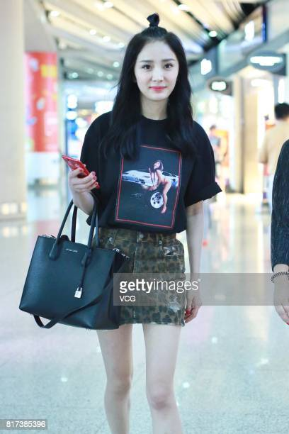 Actress Yang Mi is seen at Beijing Capital International Airport on July 17 2017 in Beijing China