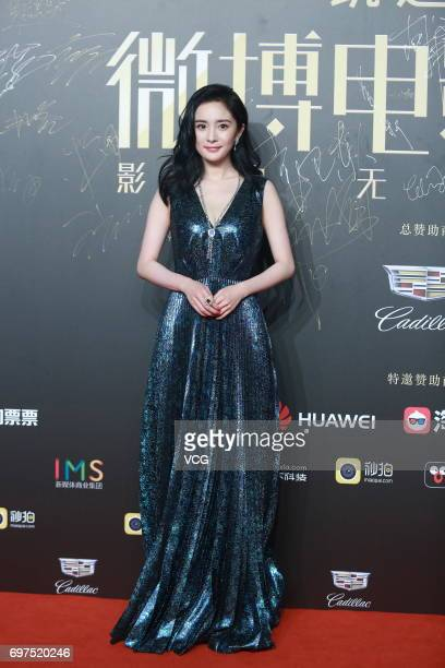 Actress Yang Mi poses at the red carpet of 2017 Sina Weibo Film Night on June 18 2017 in Shanghai China