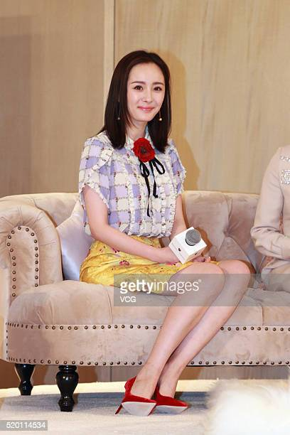 Actress Yang Mi promotes luxury brand Aspinal of London on April 9 2016 in Beijing China