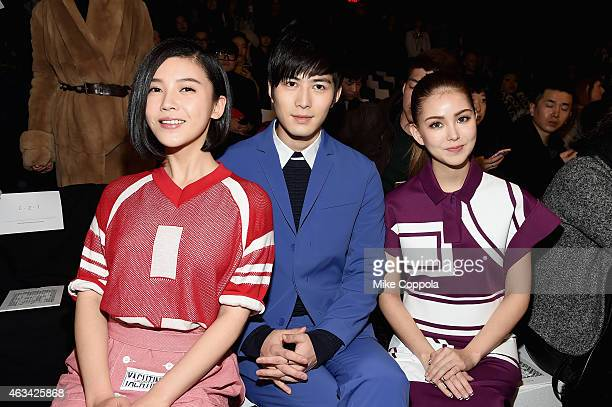 Actress Yang Zishan actor Chen Xuedong and Hannah Jay Chou attend the Lacoste fashion show during MercedesBenz Fashion Week Fall 2015 at The Theatre...