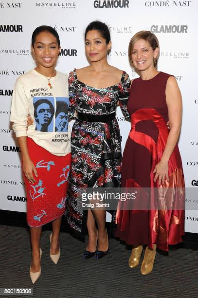 Actress Yara Shadidi actress Freida Pinto and Glamour editorinchief Cindi Leive attend Glamour's 'The Girl Project' on the International Day of the...
