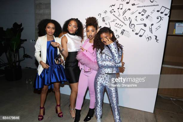 Actress Yara Shahidi and recording artists Ashley Jackson and Chloe Bailey and Halle Bailey of Chloe x Halle attend 2017 Essence Black Women in Music...