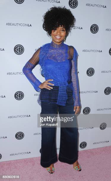 Actress Yara Shahidi arrives at the 5th Annual Beautycon Festival Los Angeles at Los Angeles Convention Center on August 12 2017 in Los Angeles...