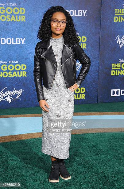 Actress Yara Shahidi arrives at the premiere of DisneyPixar's 'The Good Dinosaur' on November 17 2015 in Hollywood California