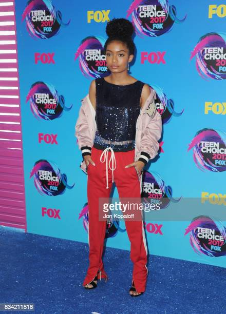Actress Yara Shahidi arrives at the Teen Choice Awards 2017 at Galen Center on August 13 2017 in Los Angeles California