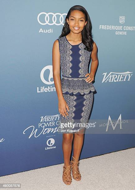 Actress Yara Shahidi arrives at Variety's Power Of Women Luncheon at the Beverly Wilshire Four Seasons Hotel on October 9 2015 in Beverly Hills...
