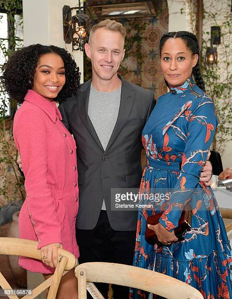 Actress Yara Shahidi Associate Publisher Marketing Head of Brand Development at W Magazine Doak Sergent and actress Tracee Ellis Ross attends Lynn...