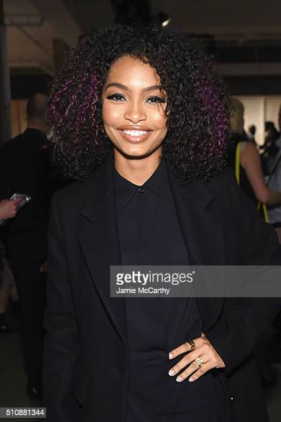 Actress Yara Shahidi attends the DKNY Women's Fall 2016 fashion show during New York Fashion Week The Shows at Skylight Modern on February 17 2016 in...