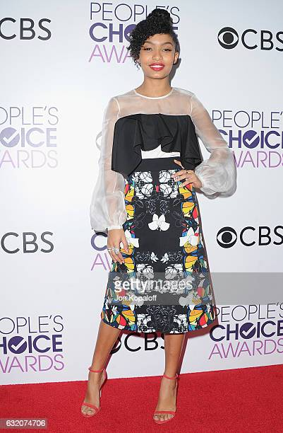Actress Yara Shahidi poses in the press room at the People's Choice Awards 2017 at Microsoft Theater on January 18 2017 in Los Angeles California