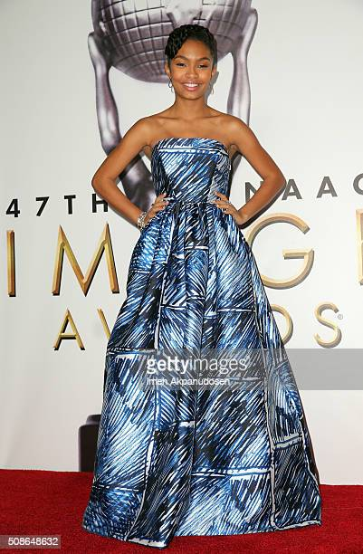 Actress Yara Shahidi poses in the press room during the 47th NAACP Image Awards presented by TV One at Pasadena Civic Auditorium on February 5 2016...