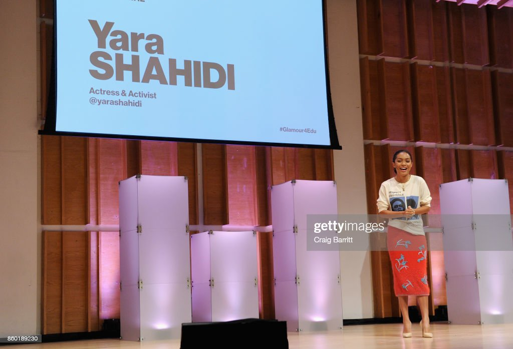 Actress Yara Shahidi speaks onstage during Glamour's 'The Girl Project' on the International Day of the Girl on October 11, 2017 in New York City.