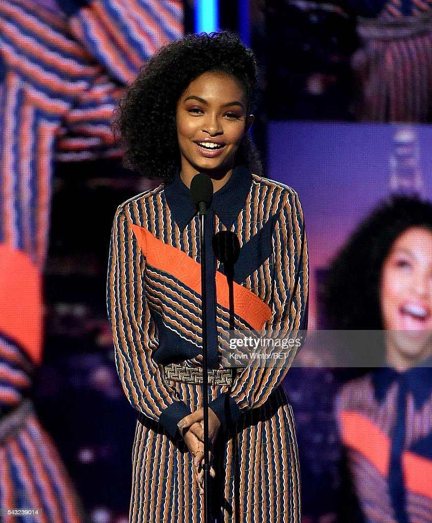 Actress <a gi-track='captionPersonalityLinkClicked' href=/galleries/search?phrase=Yara+Shahidi&family=editorial&specificpeople=4859417 ng-click='$event.stopPropagation()'>Yara Shahidi</a> speaks onstage during the 2016 BET Awards at the Microsoft Theater on June 26, 2016 in Los Angeles, California.