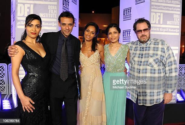 Actress Yasmine Al Massri actor Alexander Siddig writer Rula Jebral actress Freida Pinto and director Julian Schnabel arrive at the 'Miral' premiere...