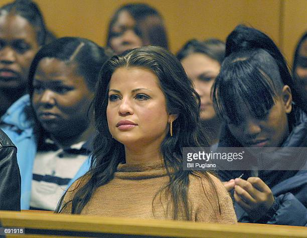Actress Yasmine Bleeth awaits sentencing in Wayne County Circuit Court January 9 2002 in Detroit MI The former 'Baywatch' star received two years...