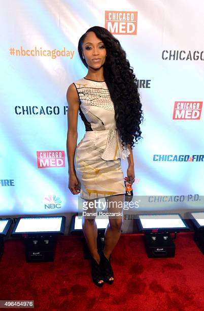 Actress Yaya DaCosta attends a premiere party for NBC's 'Chicago Fire' 'Chicago PD' and 'Chicago Med' at STK Chicago on November 9 2015 in Chicago...