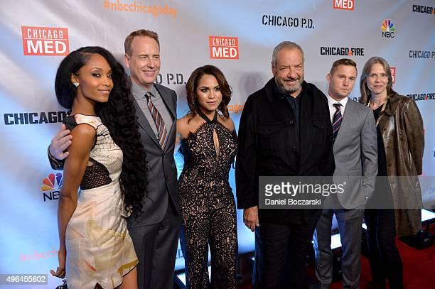 Actress Yaya DaCosta NBC Entertainment chairman Robert Greenblatt actress Monica Raymund Executive Producer Dick Wolf actors Brian Geraghty and Amy...