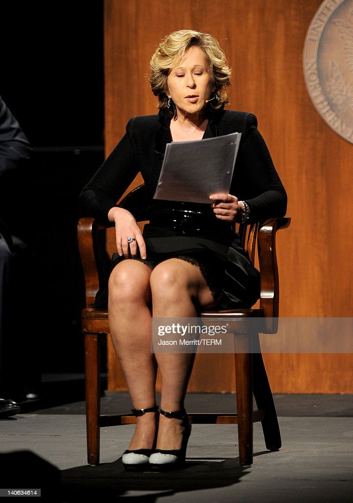 Actress Yeardley Smith speaks onstage during the onenight reading of '8' presented by The American Foundation For Equal Rights Broadway Impact at The...