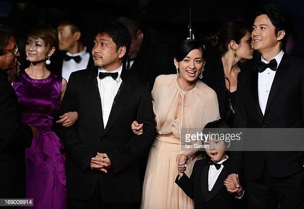 Actress Yoko Maki director Hirokazu Koreeda actors Masaharu Fukuyama Keita Ninomiya and Machiko Ono attend the 'Soshite Chichi Ni Naru' Premiere...