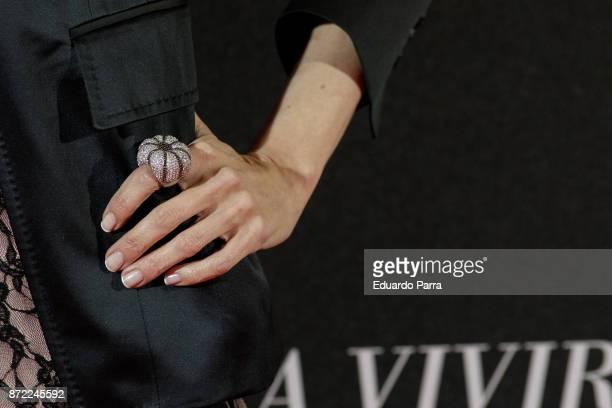 Actress Yolanda Font ring detail attends the 'Una razon para vivir' premiere on November 9 2017 in Madrid Spain