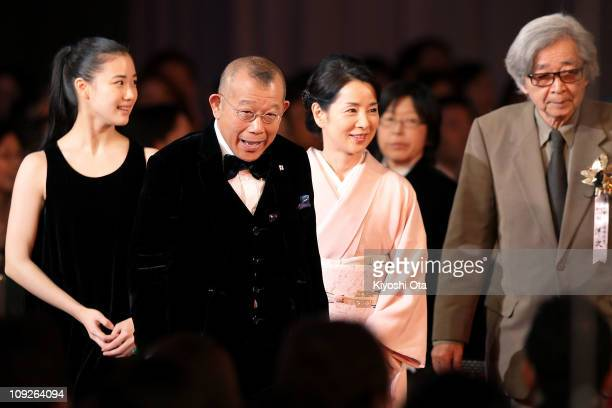 Actress Yu Aoi actor and Rakugo performer Tsurube Shofukutei actress Sayuri Yoshinaga and director Yoji Yamada arrive for the 34th Japan Academy...