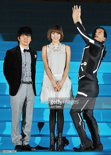 Actress Yu Yamada comedians Masayasu Wakabayashi and Toshiaki Kasuga attend the 'TRON Legacy' Tokyo premiere at the Meiji Memorial Picture Gallery on...