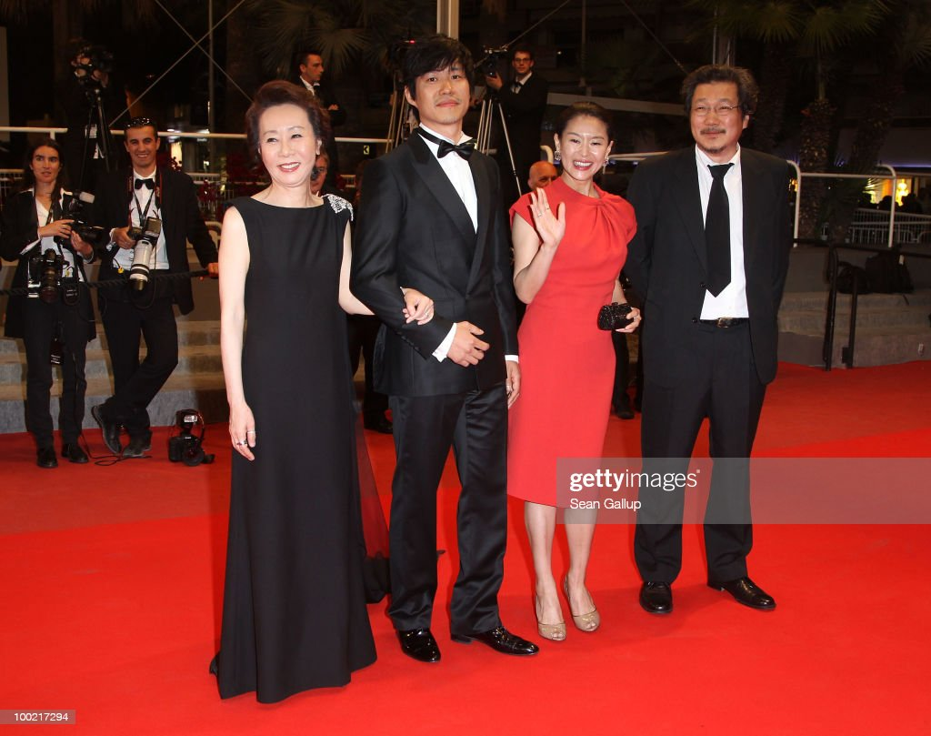 Actress Yuh-Jung Youn, Joonsang Yu, actress Jiwon Ye and Director Sangsoo Hong attend the 'Ha Ha Ha' Premiere at the Palais des Festivals during the 63rd Annual Cannes Film Festival on May 21, 2010 in Cannes, France.