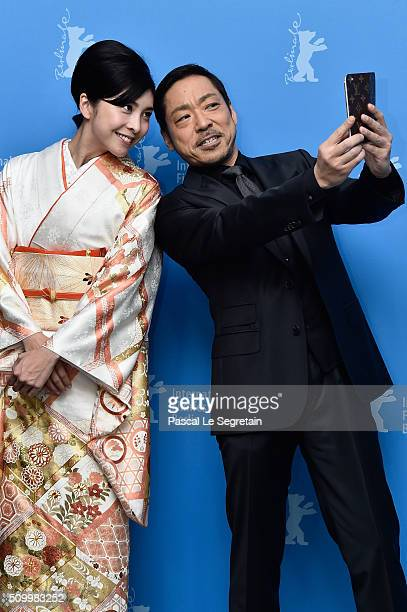 Actress Yuko Takeuchi and actor Teruyuki Kagawa attend the 'Creepy' photo call during the 66th Berlinale International Film Festival Berlin at Grand...