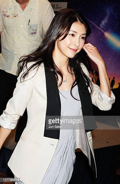 Actress Yuko Takeuchi attends a press conference for 'Hayabusa' at Tokyo International Forum on June 13 2011 in Tokyo Japan The film opens on October...