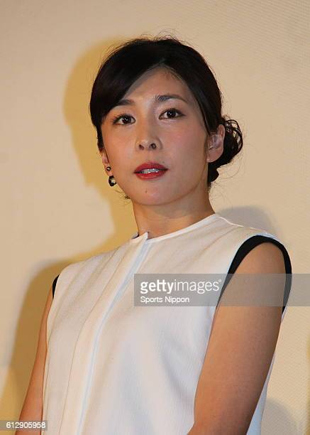 Actress Yuko Takeuchi attends preview screening of film 'Zane Sundeha Ikenai Heya' on January 14 2016 in Tokyo Japan