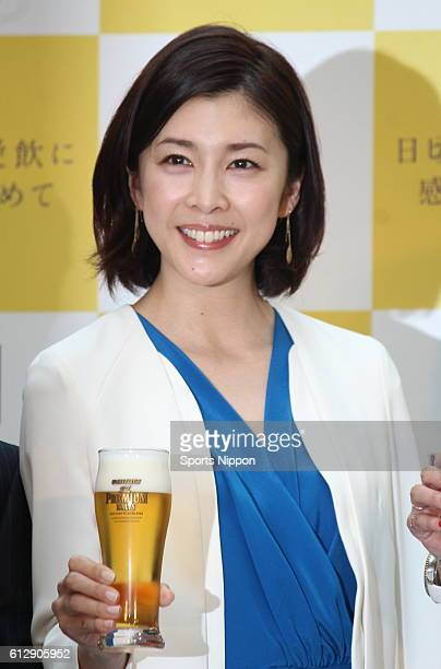 Actress Yuko Takeuchi attends Suntory The Premium Malt's PR Event on April 30 2015 in Tokyo Japan