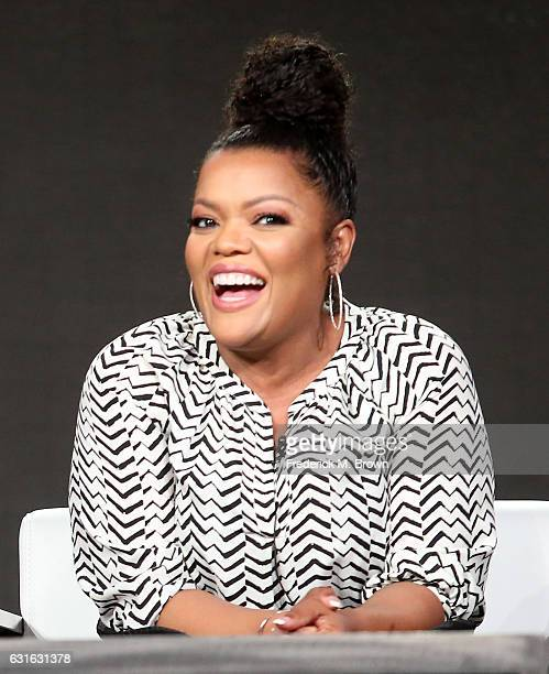 Actress Yvette Nicole Brown of the series 'SuperMansion' speaks onstage during the Crackle portion of the 2017 Winter Television Critics Association...