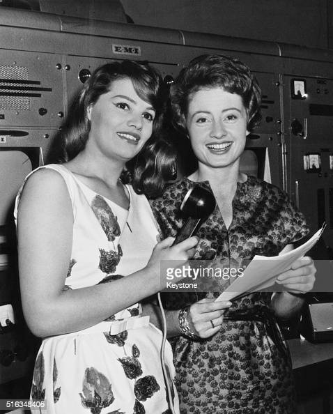 Actress Yvonne Buckingham and Sheila Tracy at Earls Court London where they are preparing to work as announcers and interviewers at the forthcoming...