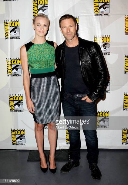 Actress Yvonne Strahovski and actor Aaron Eckhart appear at the Lionsgate preview featuring 'I Frankenstein' and 'The Hunger Games Catching Fire'...