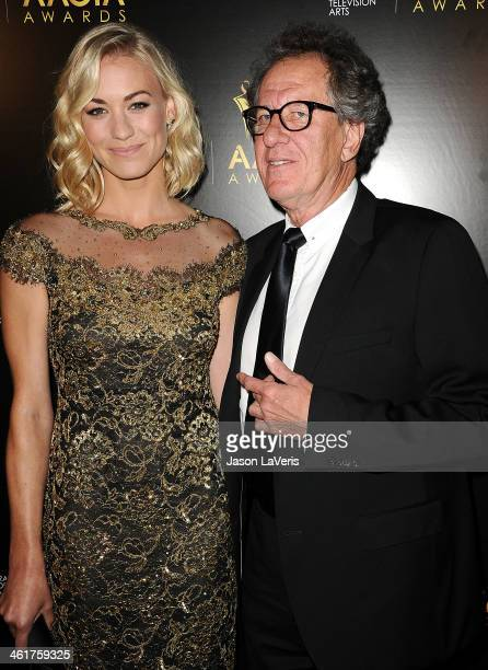 Actress Yvonne Strahovski and actor Geoffrey Rush attend the 3rd annual AACTA International Awards at Sunset Marquis Hotel Villas on January 10 2014...