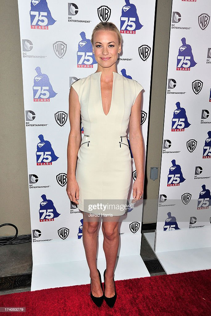 Actress <a gi-track='captionPersonalityLinkClicked' href=/galleries/search?phrase=Yvonne+Strahovski&family=editorial&specificpeople=4387578 ng-click='$event.stopPropagation()'>Yvonne Strahovski</a> arrives at DC Entertainment and Warner Bros. host Superman 75 party at San Diego Comic-Con at Hard Rock Hotel San Diego on July 19, 2013 in San Diego, California. Celebrities, executives and comic book creators packed the Hard Rock Hotel's Float Bar in downtown San Diego Friday night to celebrate 75 years of Superman. The guest list included a who's who of Hollywood elite and Superman lore, from its current comic creators to the original 1978 film to the current Man of Steel, Henry Cavill.