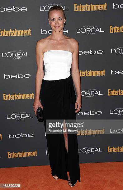 Actress Yvonne Strahovski arrives at Entertainment Weekly's PreEmmy Party at Fig Olive Melrose Place on September 20 2013 in West Hollywood California