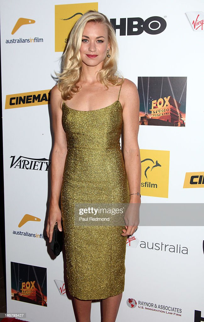Actress <a gi-track='captionPersonalityLinkClicked' href=/galleries/search?phrase=Yvonne+Strahovski&family=editorial&specificpeople=4387578 ng-click='$event.stopPropagation()'>Yvonne Strahovski</a> arrives at the Australians In Film Benefit Dinner at the InterContinental Hotel on October 24, 2013 in Century City, California.