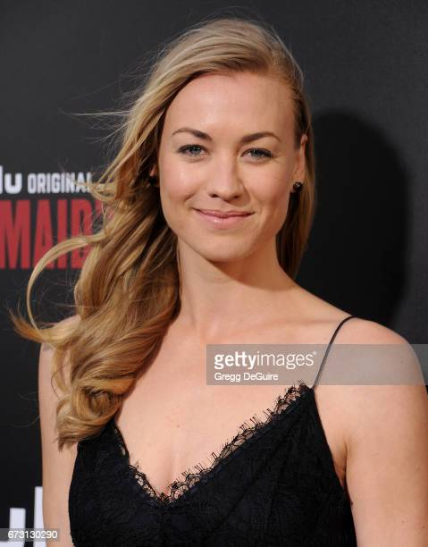 Actress Yvonne Strahovski arrives at the premiere of Hulu's 'The Handmaid's Tale' at ArcLight Cinemas Cinerama Dome on April 25 2017 in Hollywood...